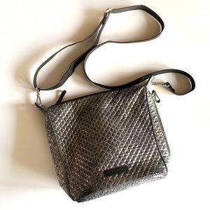 Vera Bradley shiny silver cross body purse